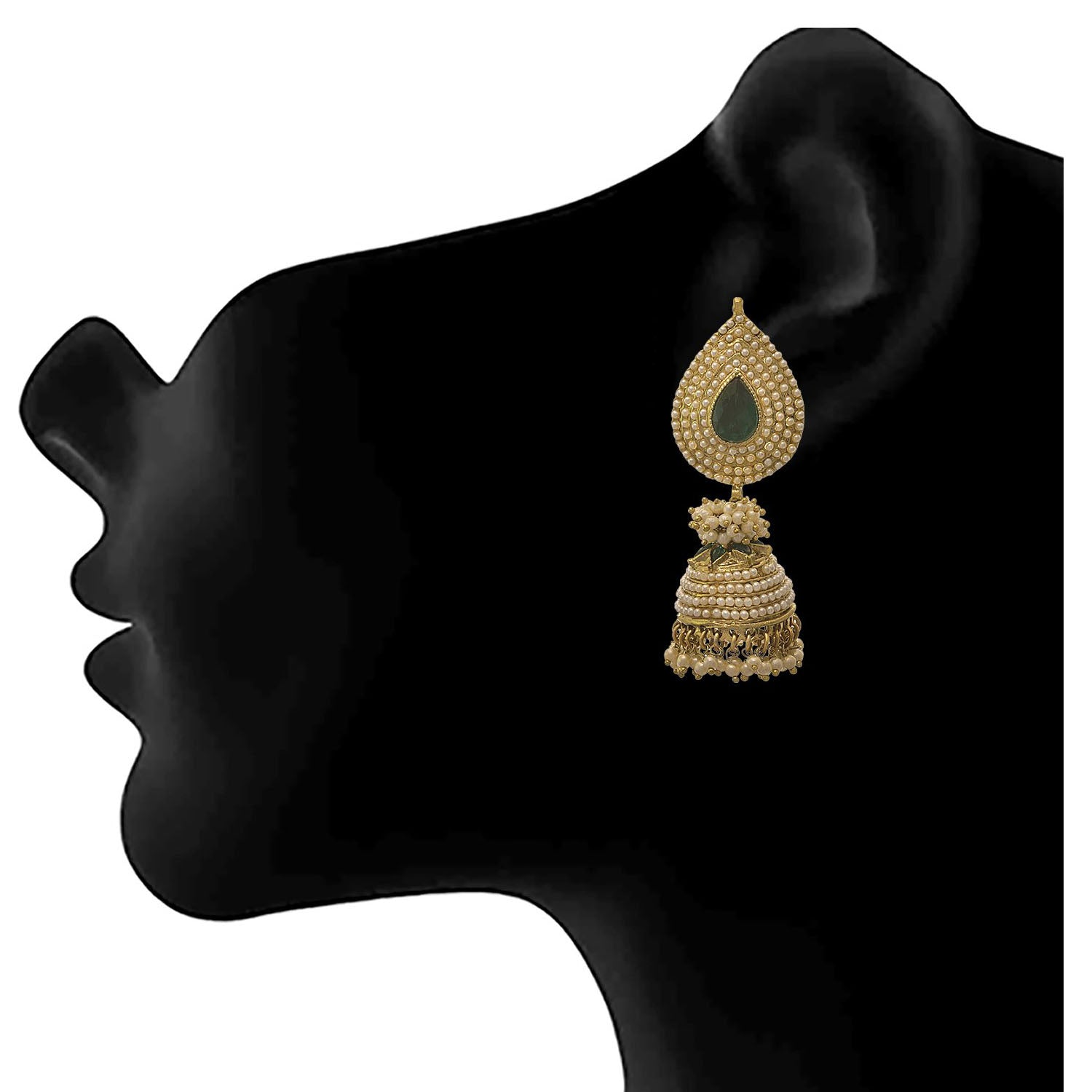 JFL - Traditional and Ethnic One Gram Gold Plated Stone & Pearls Designer Jhumki Earring for Girls and Women.