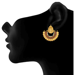 JFL -Traditional Ethnic One Gram Gold Plated Temple Mahalaxmi Ramleela Red Stones Pearls Designer Earrings for Women and Girls.