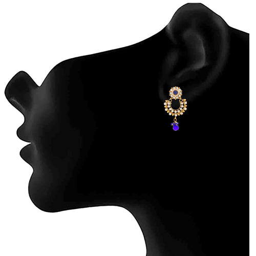 JFL - Traditional Ethnic One Gram Gold Plated Polki Diamond Designer Earring for Women & Girls.
