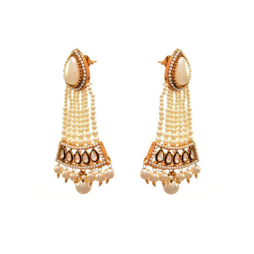 JFL - Traditional Ethnic One Gram Gold Plated Polki Pearls Designer Earring for Women & Girls