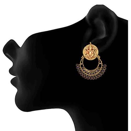 JFL - Traditional Ethnic Temple One Gram Gold Plated Black Stone Ganesh Designer Earring for Women & Girls