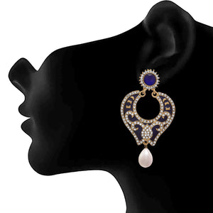 JFL - Traditional Ethnic One Gram Gold Plated Blue Designer Earrings for Women & Girls.