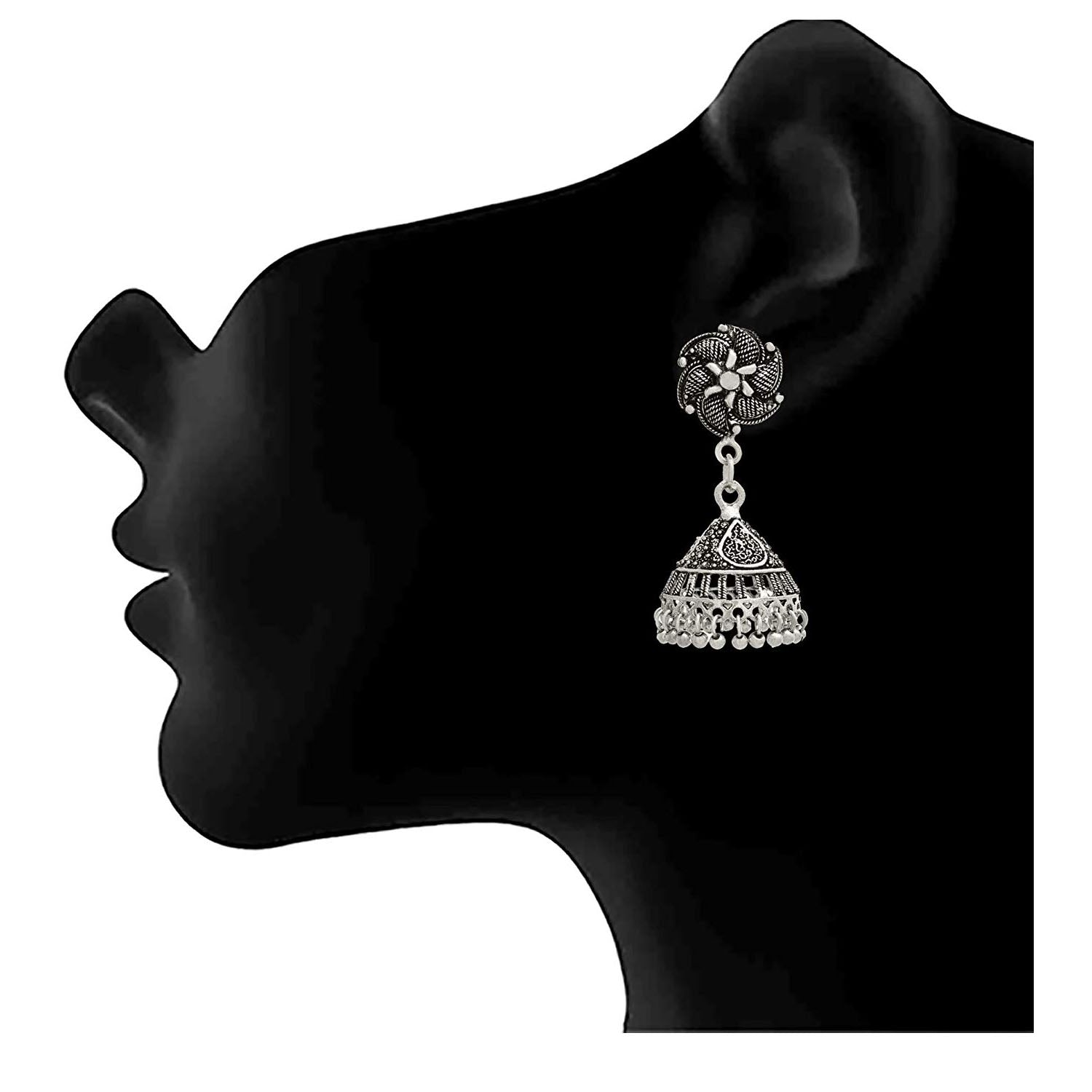 Traditional Ethnic Handmade German Silver Plated Oxidised Floral Designer Earring For Women & Girls.