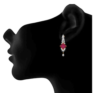 Jfl- Fusion Ethnic One Gram Gold Plated Pink Stone Cz American Diamond Earrings For Women And Girls.