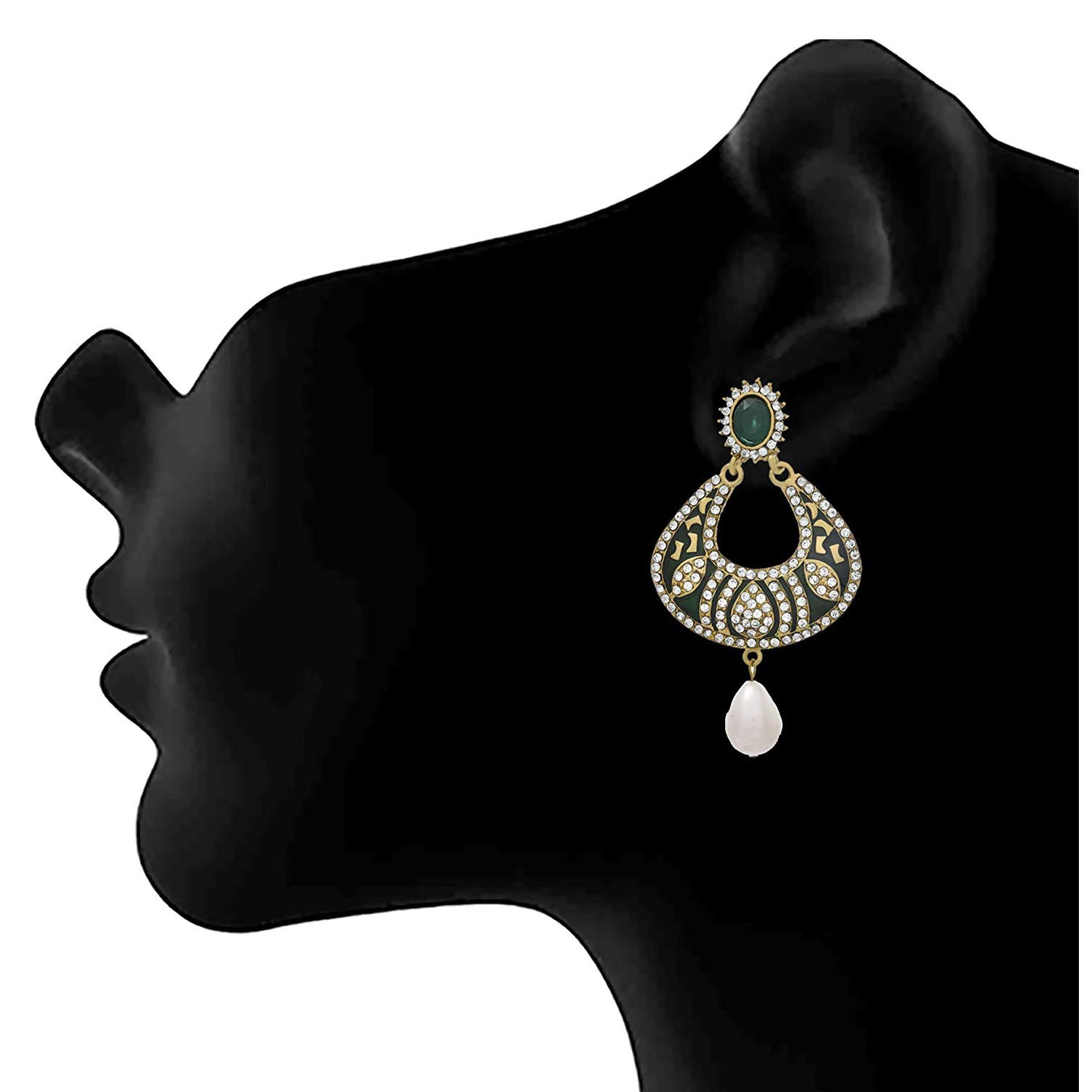 JFL - Traditional Ethnic One Gram Gold Plated Green Meenakari Diamond Designer Earring for Women & Girls.
