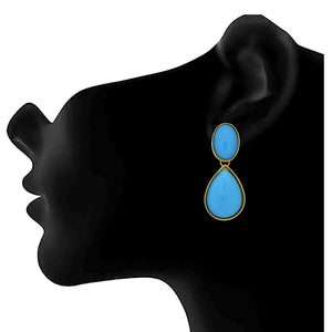 JFL -Traditional Ethnic One Gram Gold Plated Tantalizing Cyan Designer Earrings for Women & Girls.