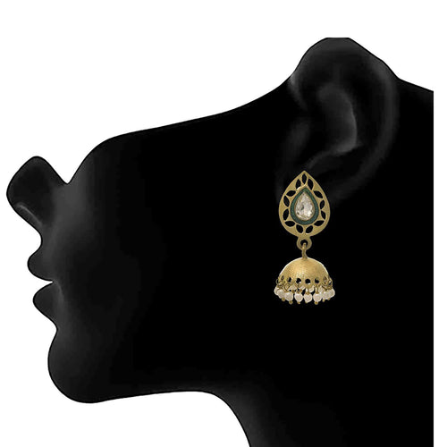 JFL - Traditional Ethnic One Gram Gold Plated Pearl Diamond Designer Jhumka Earring for Women & Girls