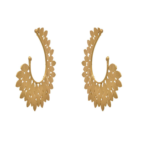 JFL - Fusion Traditional Ethnic Leaf One Gram Gold Plated Designer Earcuff Earrings for Girls & Women