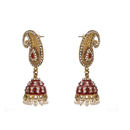 JFL - Scintillating Designer Kaerie One Gram Gold Plated Red Earrings with Meenakari & Austrian Diamonds for Women