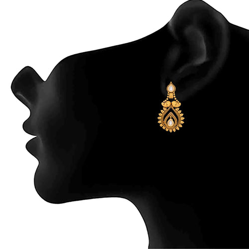 JFL- Traditional Ethnic One Gram Gold Plated Kundan Designer Earrings for Women and Girls.