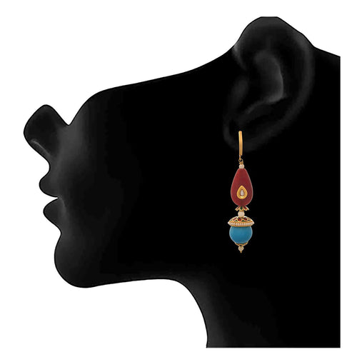 JFL - Traditional Ethnic Fusion Radiant Maroon Turquoise Blue One Gram Gold Plated Pearl Meenakari Designer Earrings for Girls & Women