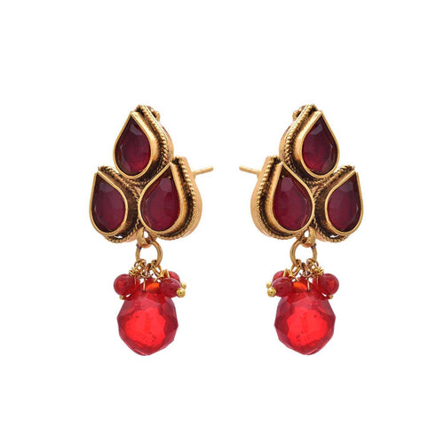 JFL - Traditional Ethnic Red Gold Designer Earring.