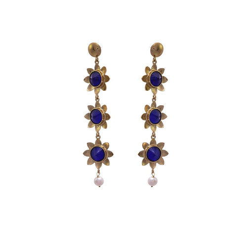 JFL - Fusion Ethnic One Gram Gold Plated Pearl Blue Stone Flower Floral Designer Earring for Girls & Women