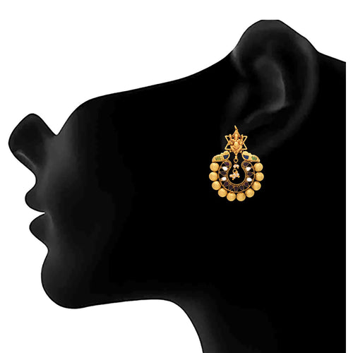 JFL - Traditional Ethnic Temple Ganesha One Gram Gold Plated Black & White Polki Diamond Designer Earring for Women & Girls.