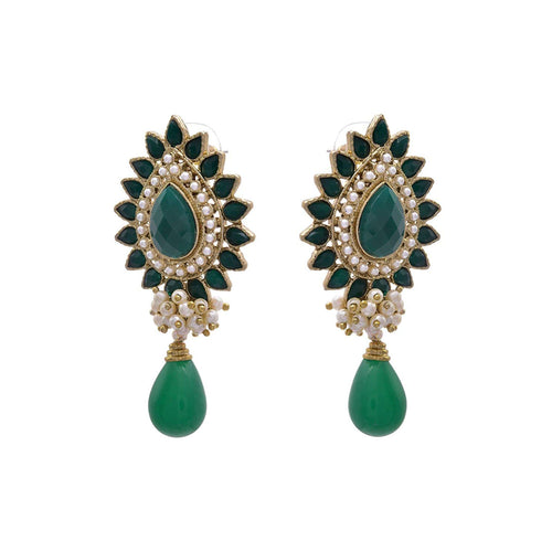 JFL - Sizzling Designer Green One Gram Gold Plated Pearl Stone Earring with Dangler for Girl & Women