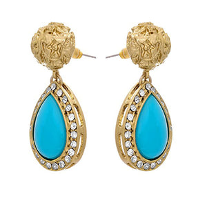 JFL - Jewellery for Less Fusion Ethnic One Gram Gold Plated Turquoise Blue Stone Diamond Earring For Girls And Women.