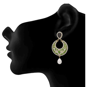 JFL - Traditional Ethnic Matt One Gram Gold Plated Black & White Stone Designer Jhumki Earring for Women & Girls.