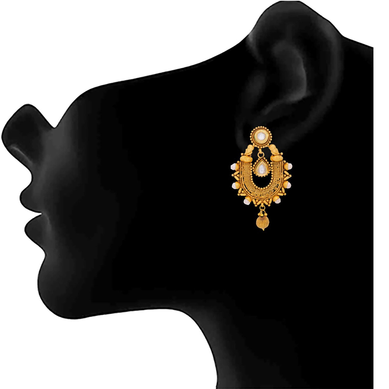 Traditional Ethnic One Gram Gold Plated Kundan Earrings For Women And Girls.