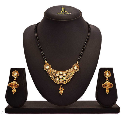 JFL - Jewellery for Less One Gram Gold Plated Kundan Designer Mangalsutra Set with Earring for Women