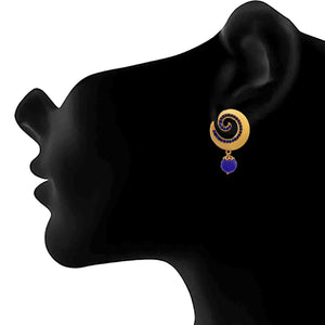JFL - Traditional Ethnic One Gram Gold Plated Blue Diamond Designer Earring for Girls and Women.