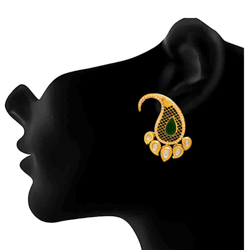 JFL - Traditional Ethnic One Gram Gold Plated Kundan Pearls Designer Earring for Women and Girls.