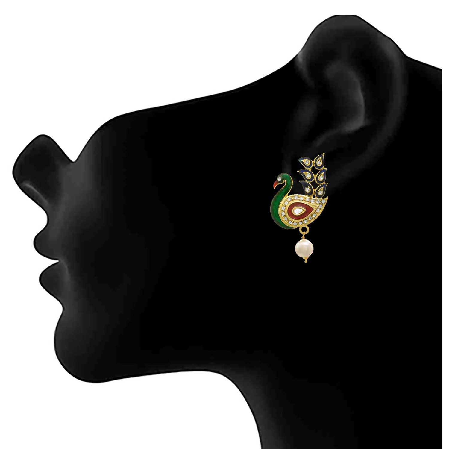 JFL - Traditional Ethnic One Gram Gold Plated Peacock Green Meenakari Diamonds Designer Earring for Women & Girls.