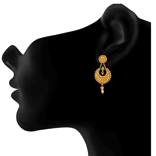 JFL-Traditional Ethnic One Gram Gold Plated Designer Earrings for Women and Girls.