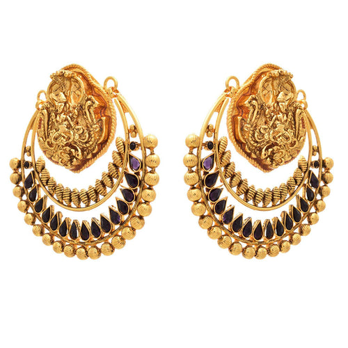 JFL- Traditional Ethnic Mahalaxmi One Gram Gold Plated Temple Designer Earrings for Women & Girls