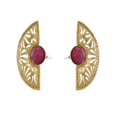 JFL - Modern & Ethnic Gold Designer Red Earrings