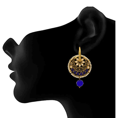 JFL - Traditional and Ethnic One Gram Gold Plated Kundan Stone & Pearls Designer Earring for Girls and Women. (Blue)