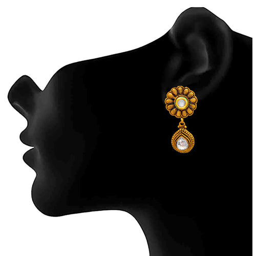 Jfl- Traditional Ethnic One Gram Gold Plated Polki Diamond Earrings For Women And Girls.