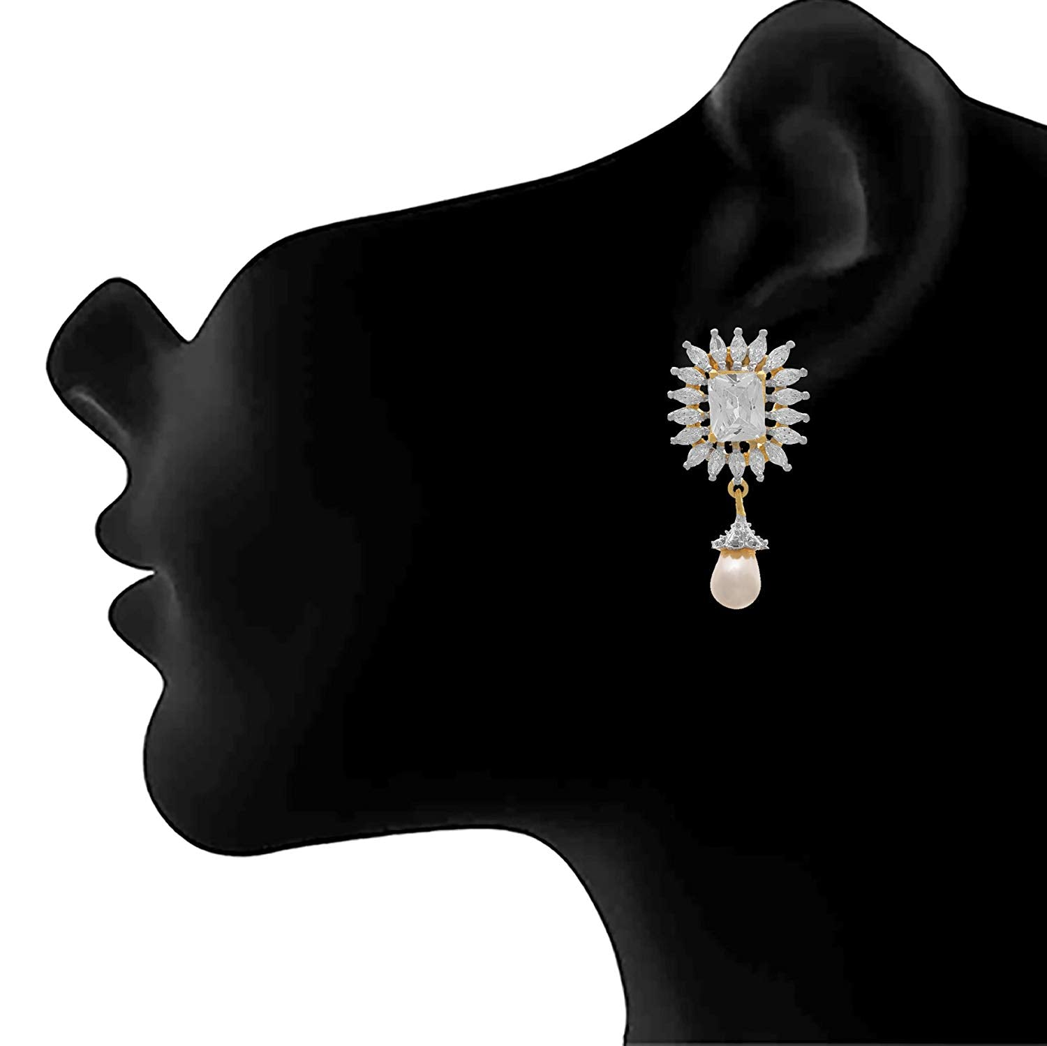 JFL - Fusion Ethnic One Gram Gold Plated American Diamond Designer Earring for Women & Girls.