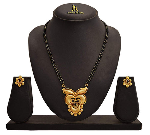 JFL - Jewellery for Less One Gram Gold Plated Mangalsutra Set With Black Beaded Chain For Women
