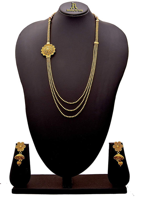 JFL-Gold Plated Traditional Bead Multi Long Necklace with Spiral Floral Design Necklace Set for Women.