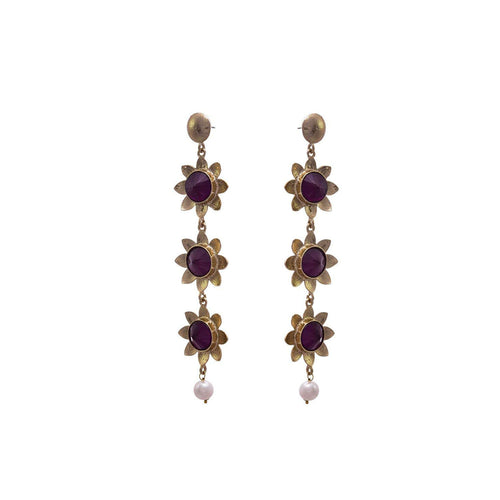 JFL - Fusion Ethnic One Gram Gold Plated Pearl Purple Stone Flower Floral Designer Earring for Girls & Women