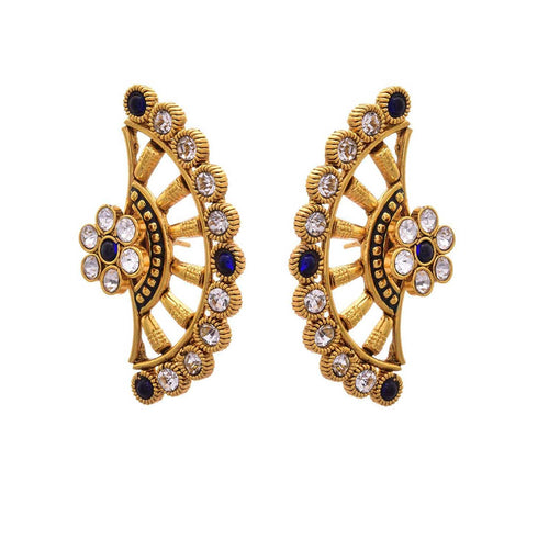 JFL - Traditional Ethnic One Gram Gold Plated Diamond Designer Earring for Women & Girls
