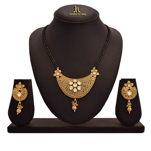 JFL - Traditional Ethnic One Gram Gold Plated Kundan Designer Mangalsutra Set for Women (White)
