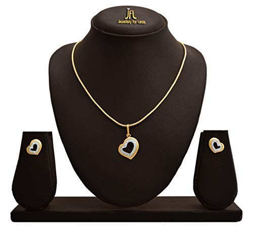 JFL - Jewellery for Less Western Designer Heart Shape American Diamond Pendant Set with Chain for Women & Girls