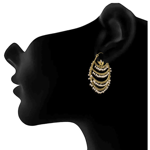 JFL - Jewellery for Less Traditional Ethnic One Gram Gold Plated Pearl Designer Bali Earring For Women & Girls.