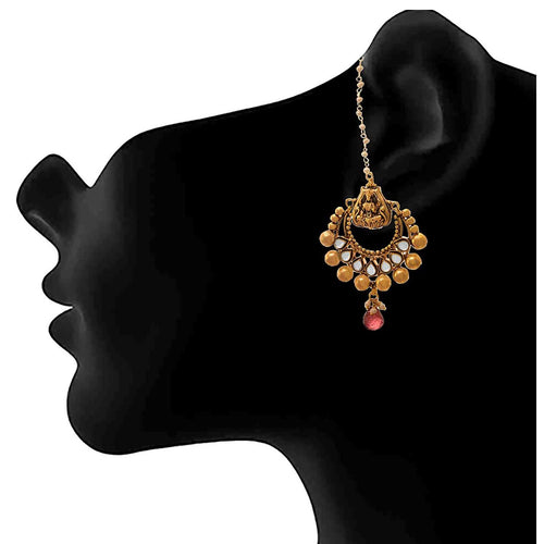 JFL - Jewellery for Less One Gram Gold Plated Goddess Laxmi Polki Diamond Designer Chandbali Earring For Women & Girls
