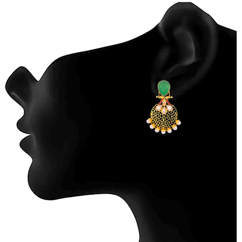 JFL - Traditional Ethnic One Gram Gold Plated American Diamond With Pearl & Intricate Jali Work Earring for Women & Girls