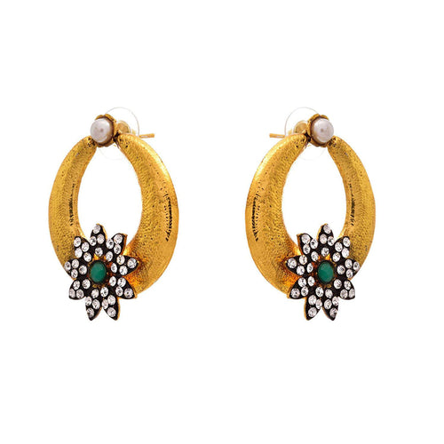JFL - Traditional Ethnic One Gram Gold Plated Austrian Diamond Green Designer Earring for Women & Girls