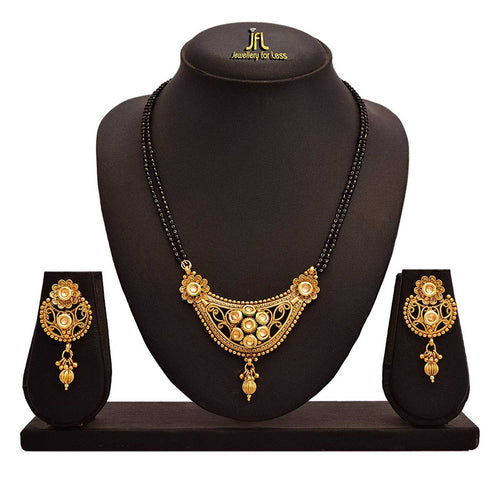 JFL - Jewellery for Less One Gram Gold Plated Kundan Designer Mangalsutra Set with With Black Beaded Chain for Women