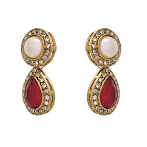 JFL - Exquistite Red One Gram Gold Plated Earrings with Austrian Diamonds & Pearl for Women & Girl