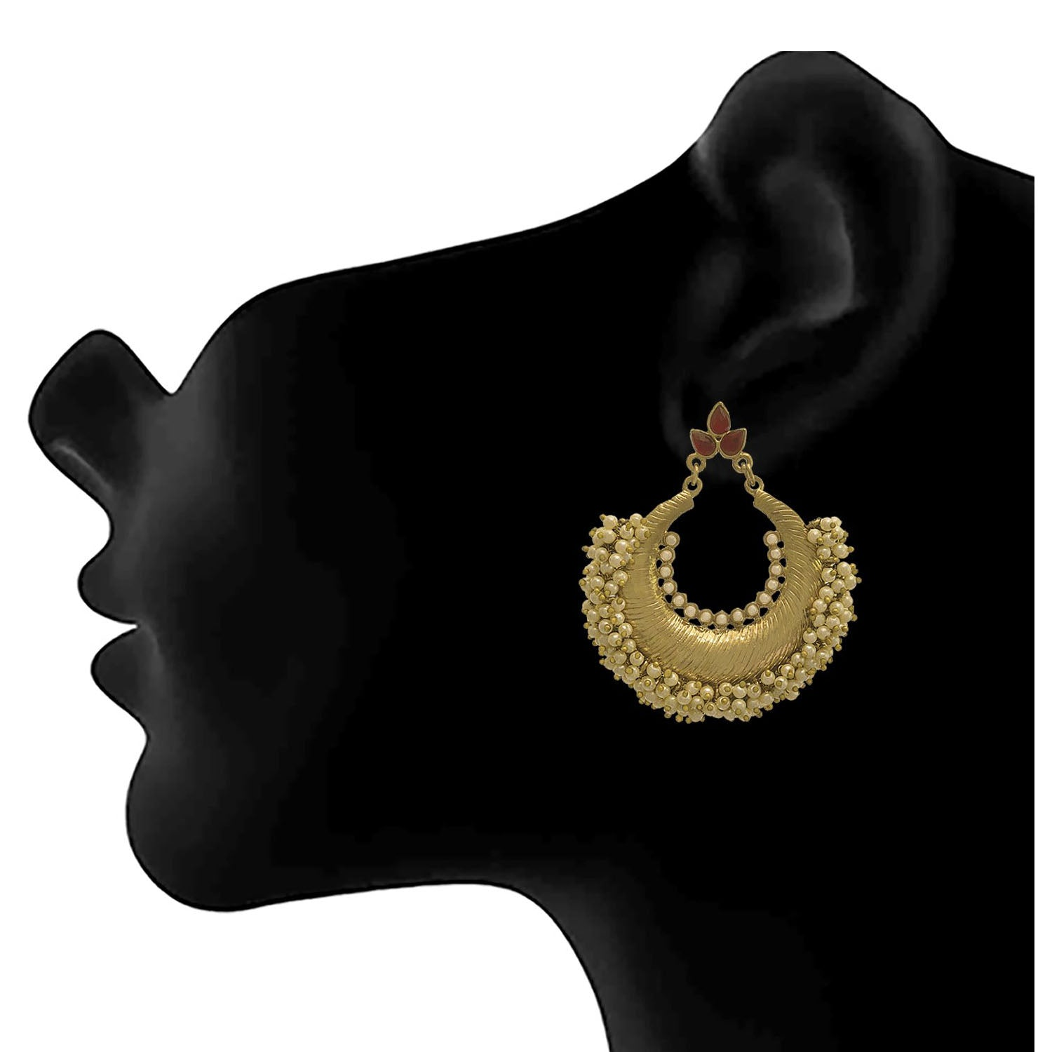 JFL - Traditional and Ethnic One Gram Gold Plated Stone & Pearls Designer Earring for Girls and Women.