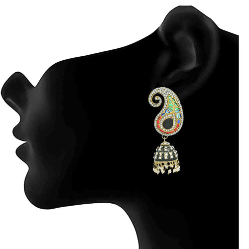 JFL - Traditional Ethnic Matt One Gram Gold Plated Black Stone & White Dimond Designer Jhumki Earring for Women & Girls.