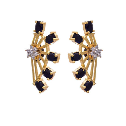 JFL - Exquisite Designer Blue One Gram Gold Plated Cz Diamond Earring for Girl & Women