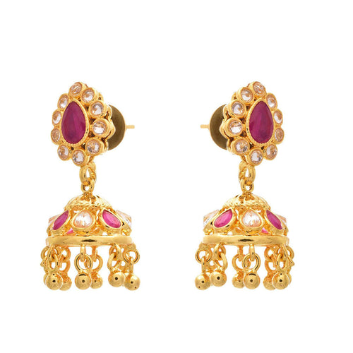 JFL - Traditional Ethnic One Gram Gold Plated Pink White Polki Diamond Designer Jhumka for Women & Girls