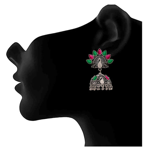 JFL - Traditional Ethnic Handmade Semi Precious Ruby and Emerald German Silver Plated Oxidised Peacock Designer Jhumki Earring For Women & Girls.
