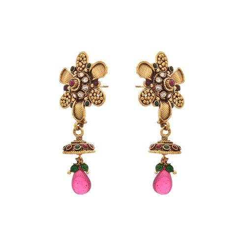 JFL - Traditional Ethnic One Gram Gold Plated Red and Green Stone Austrian Diamond Floral Designer Earring for Women & Girls
